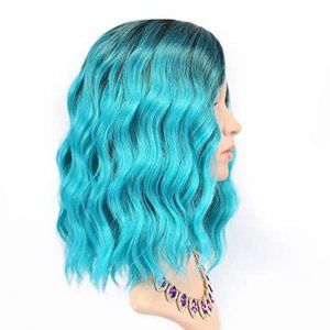 """Accessories - 14"""" Synthetic Wavy Bob Wig Ombre Teal Black Blue"""